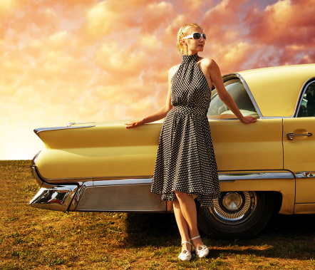 Women in Retro Car